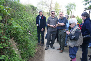 Group looking at Cowbridge boundary stone