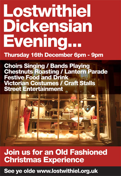 Lostwithiel Dickensian Evening poster