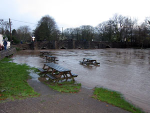 Picnic benches submerged