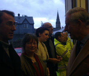Prince Charles visits Lostwithiel after the floods