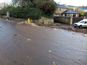 Tanhouse Road turned into river