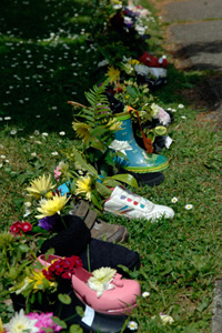 Flower arranged shoes and boots
