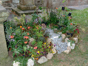 Cottage garden outside St Bartholomew's Church in Lostwithiel