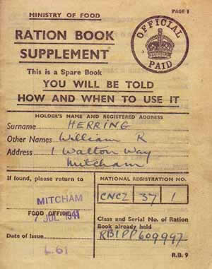 Ration book front cover