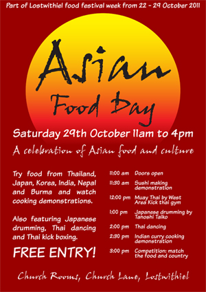 Lostiwthiel Asian Food Day 2011 poster
