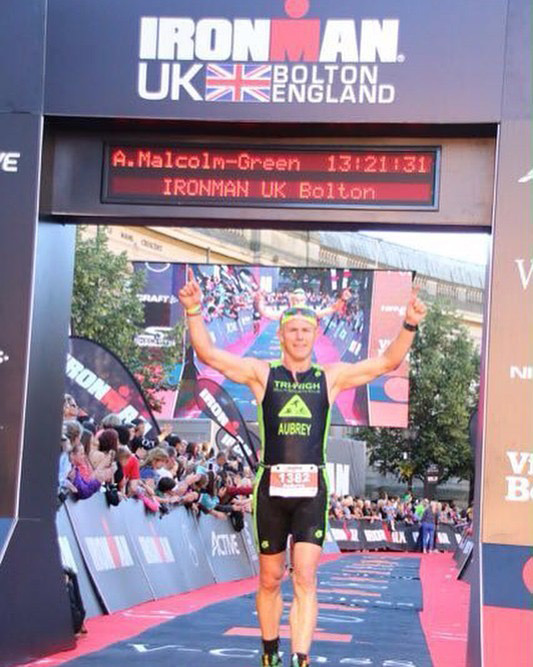 Aubrey Malcolm-Green completes UK Iron Man as part of his training for the Monster Triathlon