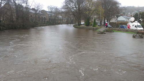 Picnic benches submerged at Lostwithiel