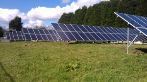 Solar panels at waste water treatment plant in Lostwithiel